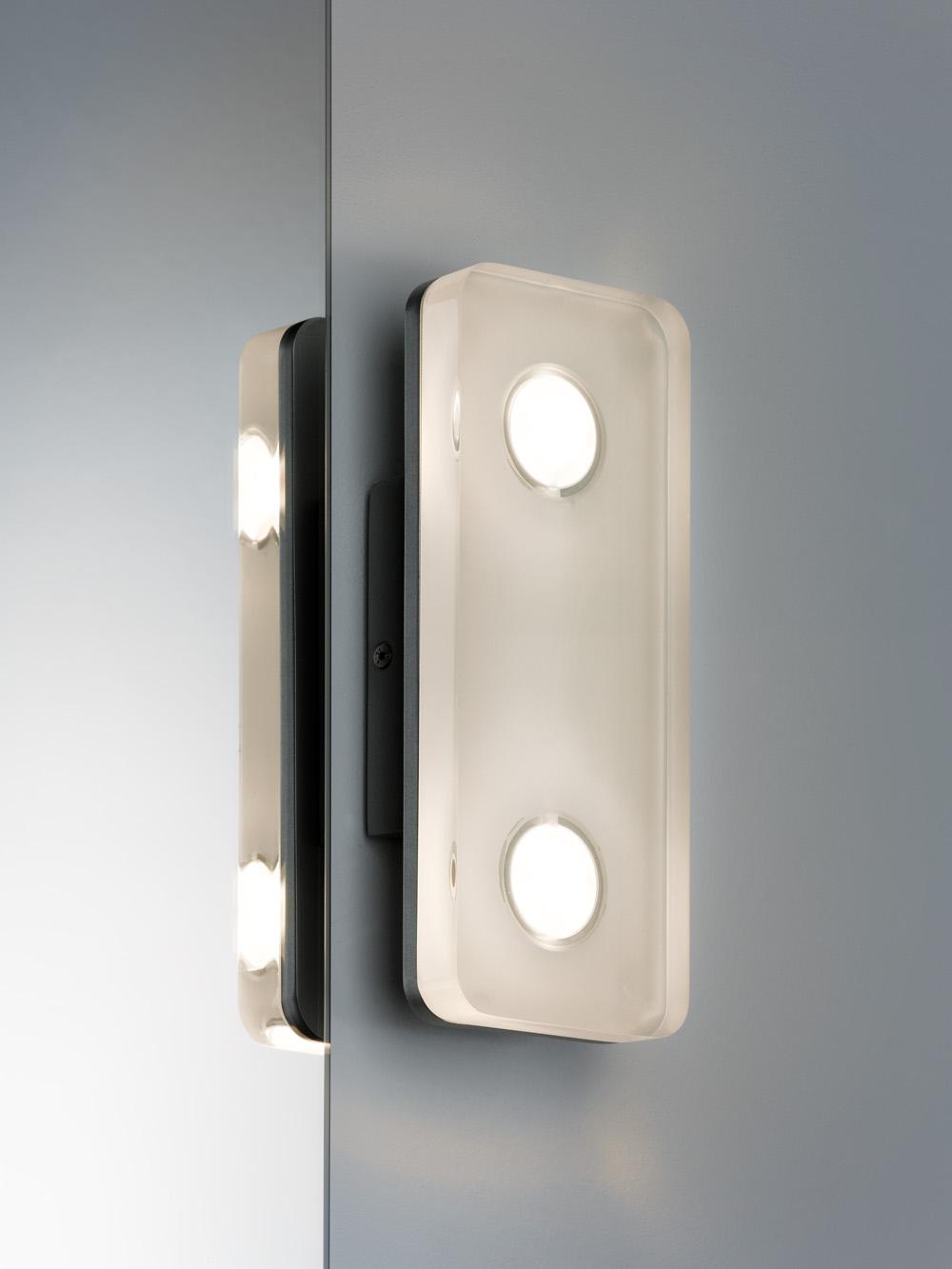 led wandleuchte theta eckig 9w aluminium klar 70478. Black Bedroom Furniture Sets. Home Design Ideas